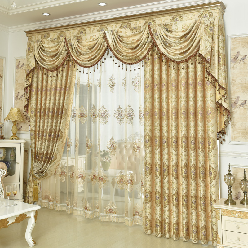 high quality fashion luxury european jacquard curtain embroidered sheer curtain valance for. Black Bedroom Furniture Sets. Home Design Ideas