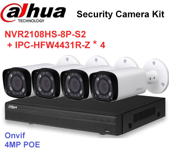 Dahua NVR Security CCTV Camera Kit NVR2108HS-8P-S2 Motorized Zoom Camera IPC-HFW4431R-Z P2P Surveillance System Easy instalL ...