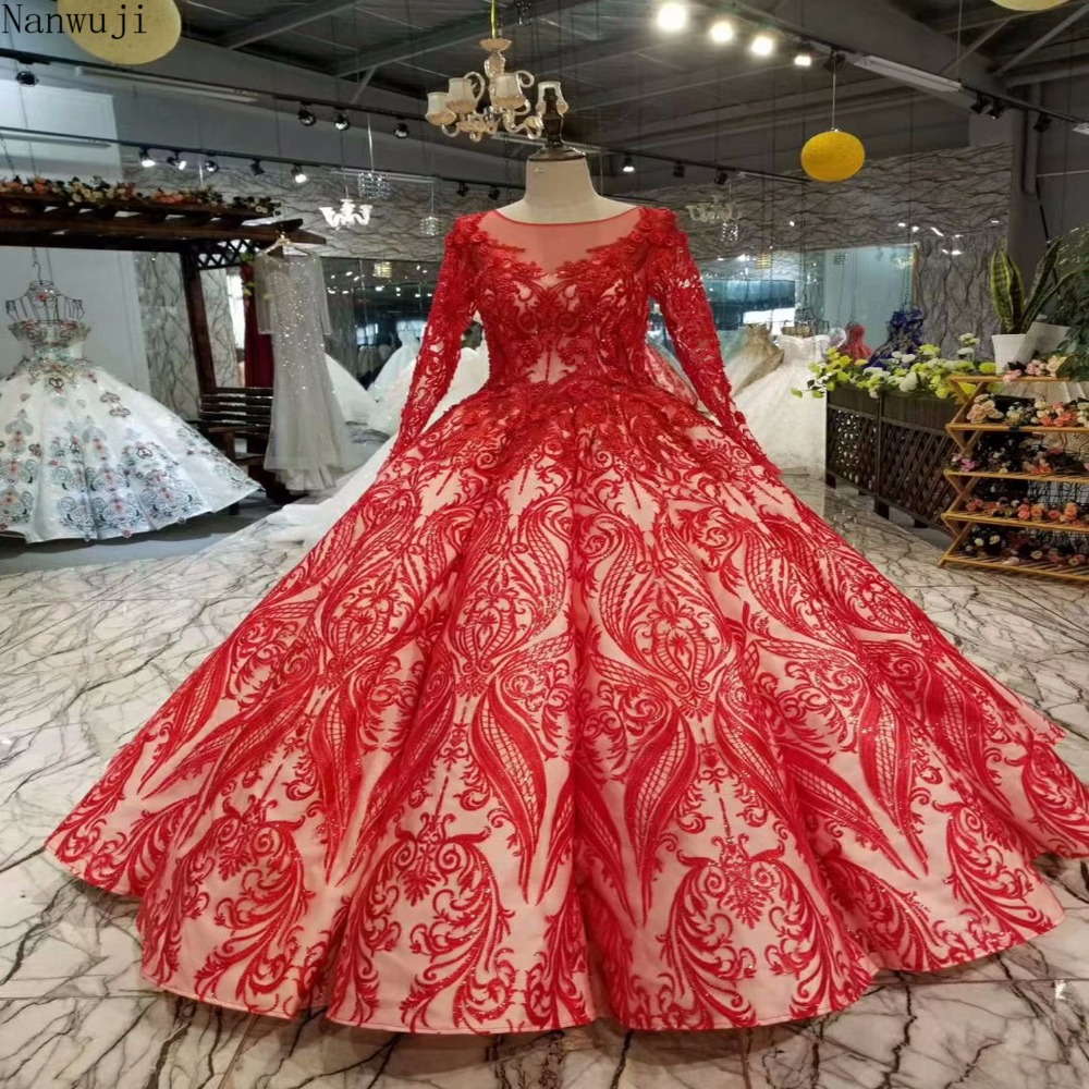 2018 Luxury Backless Lace Ball Gown Red Wedding Dresses
