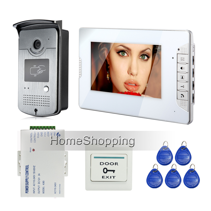 FREE SHIPPING Brand New 7 LCD Color White Screen Video Door Phone Intercom System + 700TVL RFID Access Doorbell Camera In Stock brand new j2 2016 lcd free shipping j210