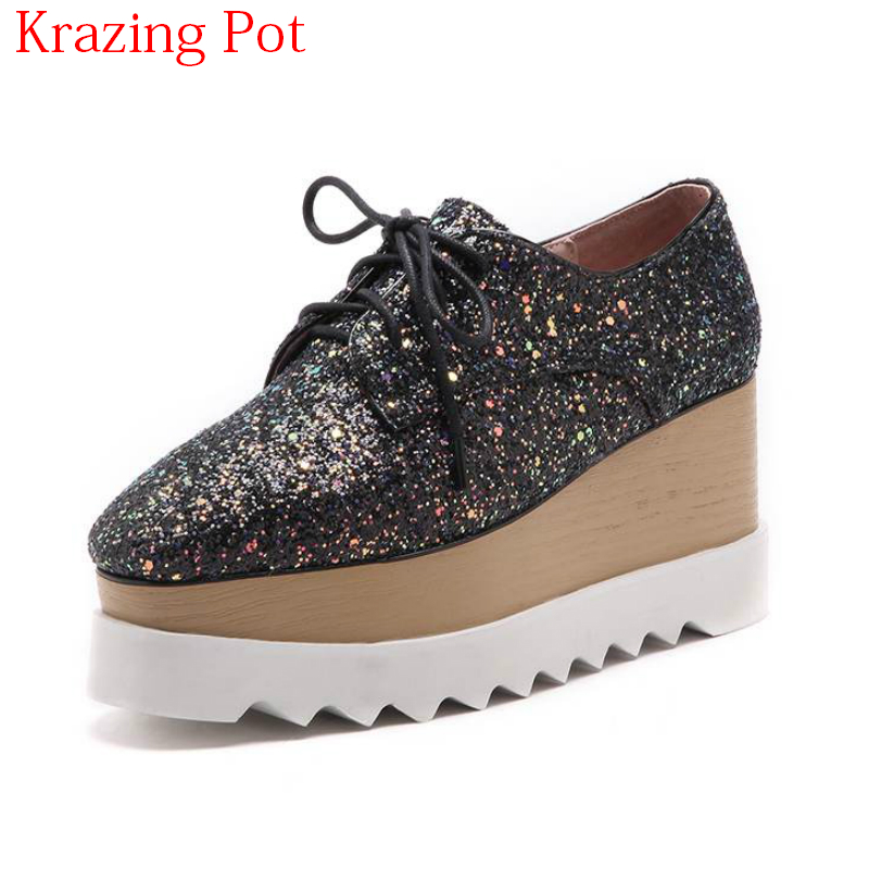 2018 Sequined Cloth Square Toe Wedges Lace Up Bling Preppy Style Sneaker Thick Bottom High Heels Sweet Increased Casual Shoe L83