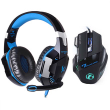 Wholesale EACH G2000 LED Lights Hifi Pro Gaming Headphone Game Headset+7 Button 5500 DPI Professional Gamer Gaming Mouse Game Mice Gift