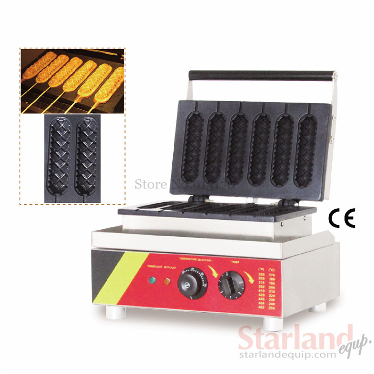 Electrical Lolly Waffle Hot Dog Machine with 6 pcs Molds 110v 220v Stick Waffle Maker Great Snack Machine 220v 110v mixed type hot dog lolly waffle machine hot dog grill