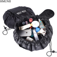 HMUNII Creative Lazy Cosmetic Bag Large Capacity Portable Drawstring Storage Artifact Magic Travel Pouch Simple Cosmetic Bag