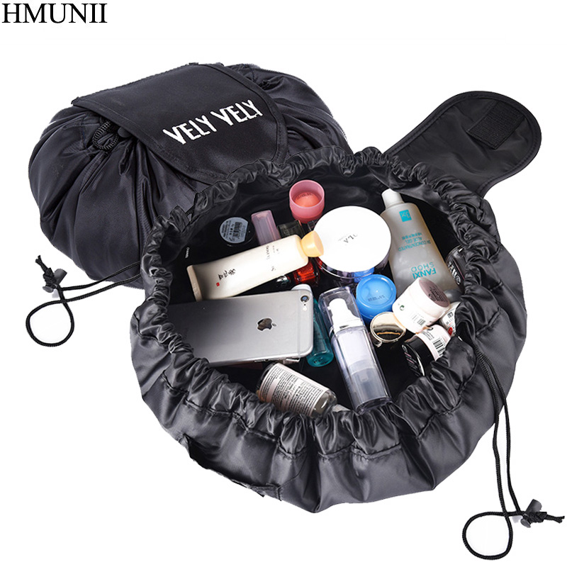 Hmunii creativo perezoso bolsa de cosméticos de gran capacidad portable almacenamiento cordón artefacto mágico bolsa de viaje simple bolsa de cosméticos