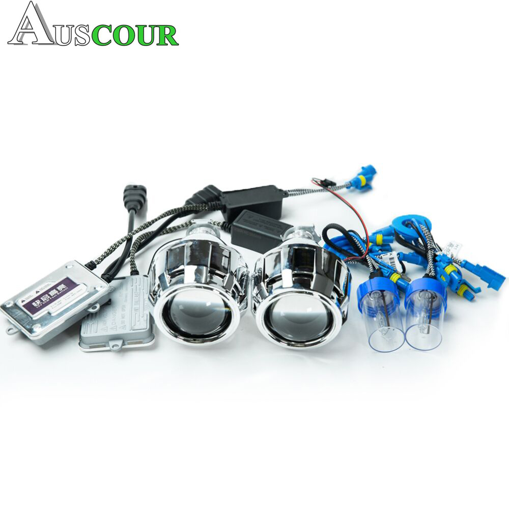 2.5 inch mini HID bixenon Projector Lens 55W H1 Bulb ballast xenon kit lens shrouds mask for H1 H4 H7 car motorcycle assembly