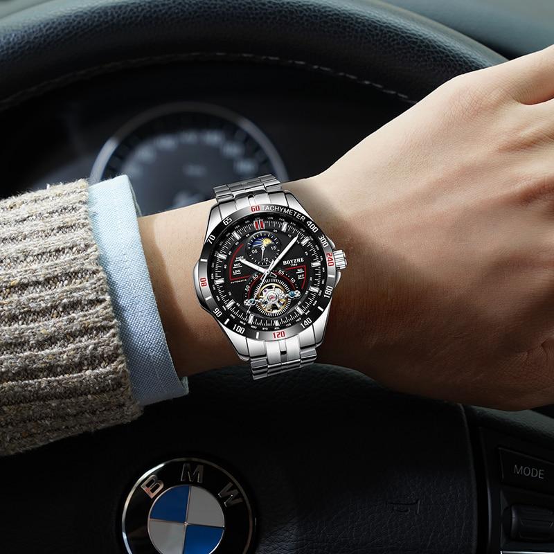 BOYZHE hombres automático mecánico moda superior marca deporte relojes Tourbillon Luna fase reloj de acero inoxidable - 6