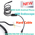 7mm Lens MircoUSB Android OTG USB Endoscope Camera 1M 2M 3.5M 5M Waterproof Snake Tube Pipe Android USB Borescope Camera