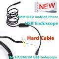 7mm Lente MircoUSB Android OTG USB Endoscópio Camera 1 M 2 M 3.5 M 5 M À Prova D' Água Tubo de Cobra Câmera Borescope tubo USB Android
