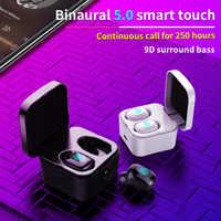 TWS 5.0 Bluetooth Auricolare Senza Fili Della Cuffia di Impronte Digitali Touch Sport Bass Auricolare con microfono stereo per Corsa e Jogging Sport