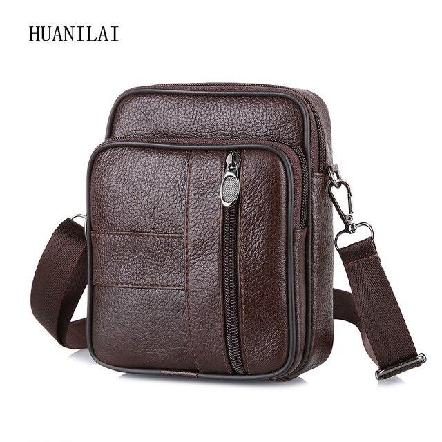 HUANILAI Men's Crossbody Bags Retro Multifunction Shoulder Bags Genuine Leather Bags For Men Cowhide Bags Small Handbags