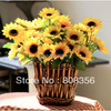 12pcs 25CM 9 84 Yellow Daisy Bush 1p Floral Vase Silk Artificial Gerbera 7 Flower Heads