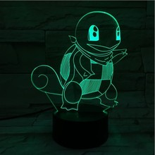 Pokemon Go Squirtle Figure Childrens Nightlight LED Touch Sensor Color Changing Bedroom Decoration 3D Night Lamp RGB