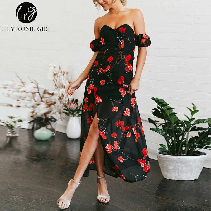 Lily Rosie девушка сексуальная без бретелек с открытыми плечами черный цветочный принт женские макси платья 2018 Лето Бохо сплит длинное платье Леди Vestido