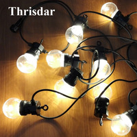 Thrisdar 20 LED G50 Festoon Clear Globe Bulbs Fairy LED String Light Outdoor Christmas Wedding Party Globe Pendant Garland Light