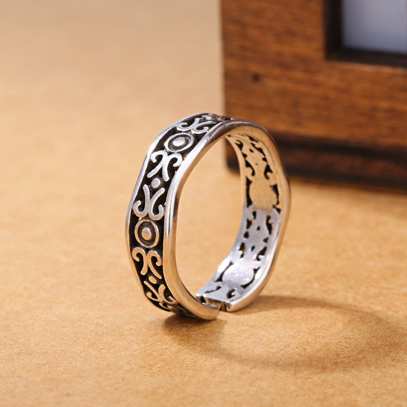 925 Sterling Silver Jewelry Open Croissant Retro Six Strand Twist Rope Ring For Party Women Adjustable Ring Anillo Bague VRS2224