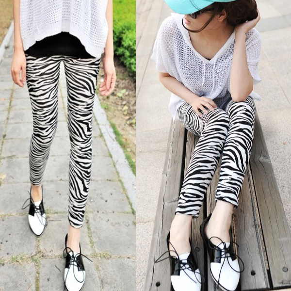 Women Lady Leggings Zebra Striped Skinny Stretch Footless Cotton Pencil Pants