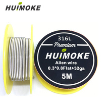 Heating Wire 5m/roll SS 316L Flat Alien A1 Alien NI80AlienClapton Wire for RDA RBA Rebuildable Atomizer Heating Wires Coil Tool цена