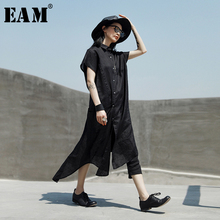 [EAM] 2019 New Spring Summer Lapel Short Sleeve Black Loose Irregular Split Joint Shirt Dress Women Fashion Tide JX163