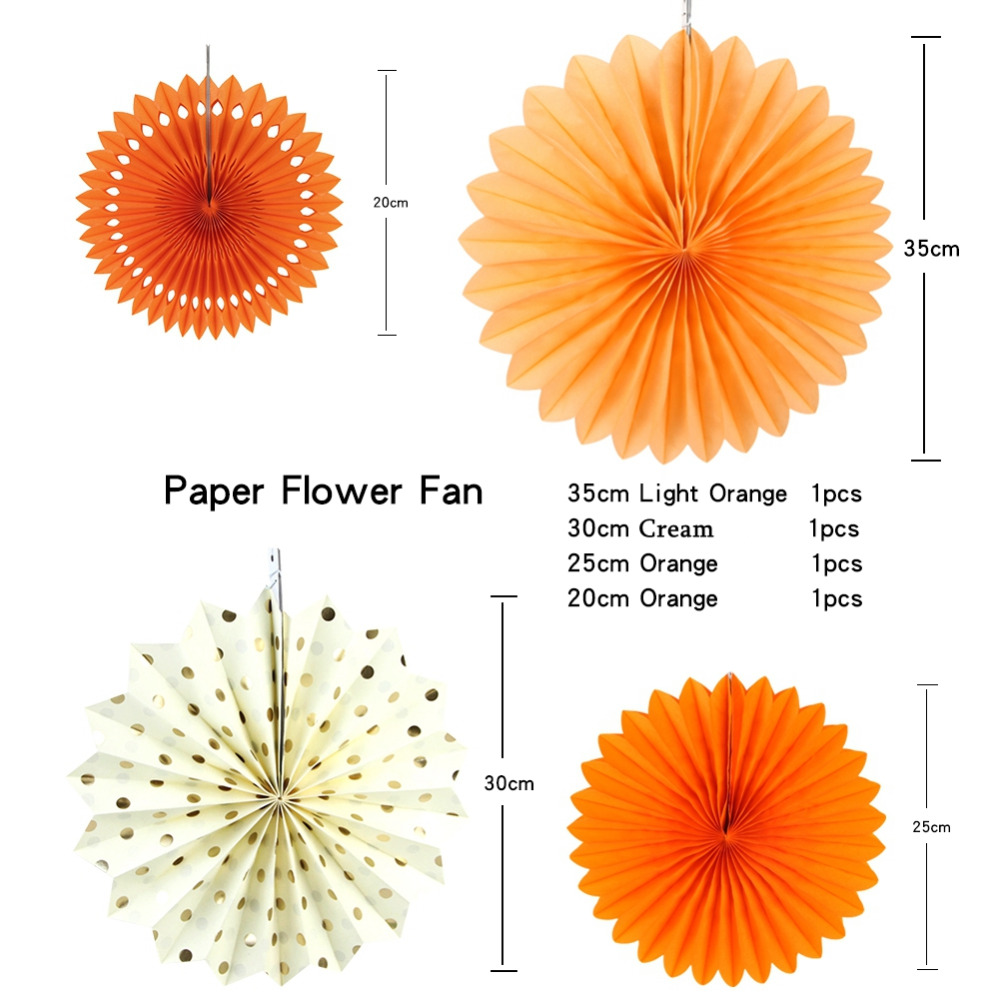 Set of 7 Orange Theme DIY Paper Crafts Paper Fans Rosettes Photo ...