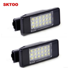 SKTOO 2 x LED SMD luz de placa de licencia para Peugeot 106, 207, 307, 308, 406, 407, 508 blanco(China)
