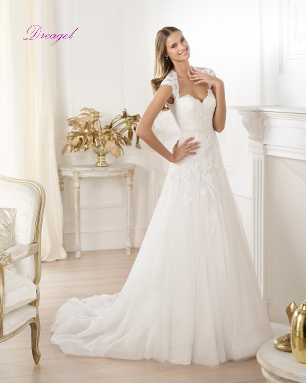 dreagel new design a line appliques lace wedding dress 2017 sexy sweetheart neckline backless robe