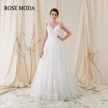 Rose Moda delicada Chantilly vestido de novia de encaje 2018 Backless V cuello vestidos de novia de encaje barrer el tren