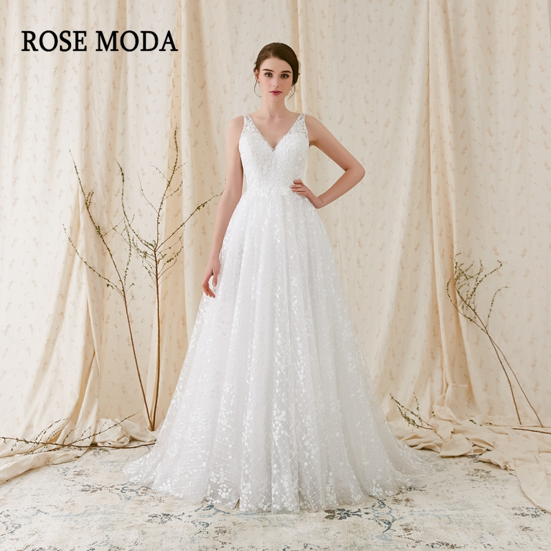 Rose Moda Delicate Chantilly kanten trouwjurk 2018 Backless kanten - Trouwjurken