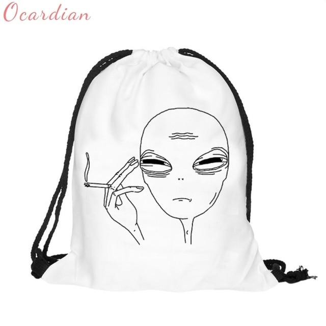2017 Unisex Backpacks 3D Printing Bags Drawstring Backpack Alien Oct27