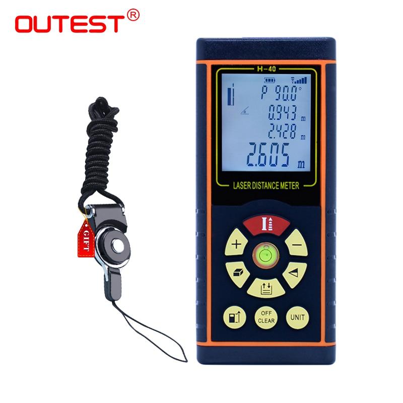 OUTEST digital distance meter laser 40M/60M/80M/100M laser rangefinder laser Roulette ruler trena tape with electronic level