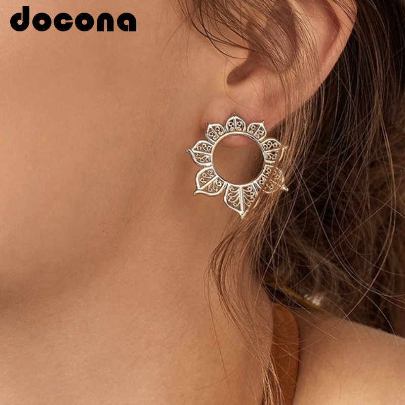 docona Tribal Hollow Leaf Flower Studs Earring for Women Floral Studs Earring Black Statement Earrings Pendientes Mujer6972