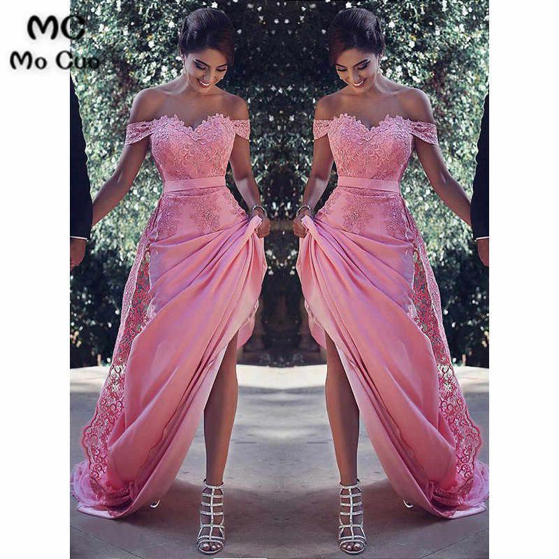 2019 Moda Fora Do Ombro Vestidos de Noite Lace Pageant Vestido de Baile de Cetim Elástico Cocktail Party Vestido Mulheres Vestidos de Noite Formal