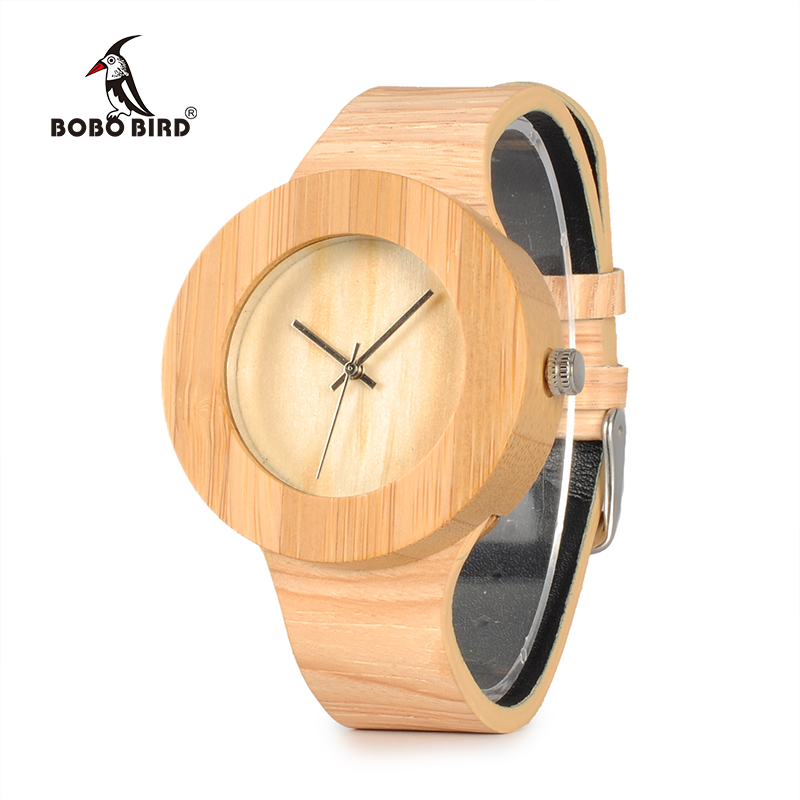 BOBO BIRD WH11 Brand Design Bamboo Wooden Watches for Women Men Wood Dial Quartz Watch Leather Grain Band in Wood Box Gift OEM bobo bird brand new wood sunglasses with wood box polarized for men and women beech wooden sun glasses cool oculos 2017