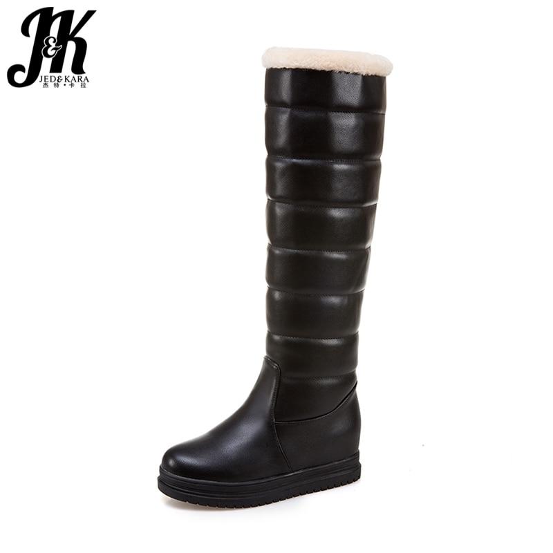 J&K Big Size 34-43 Winter Keep Warm Knee Boots Women Plush Snow Boots Female Height Increasing Platform Shoes Woman Footwear