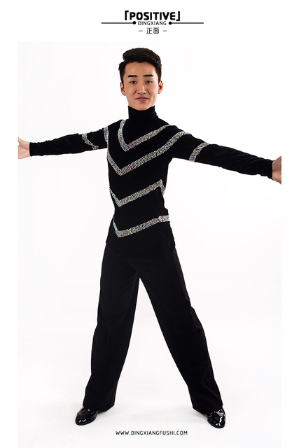 f21818281353 Men children boy latin dance costume high collar latin competition top for dancer  latin dancing clothes with jewelry rhinestone