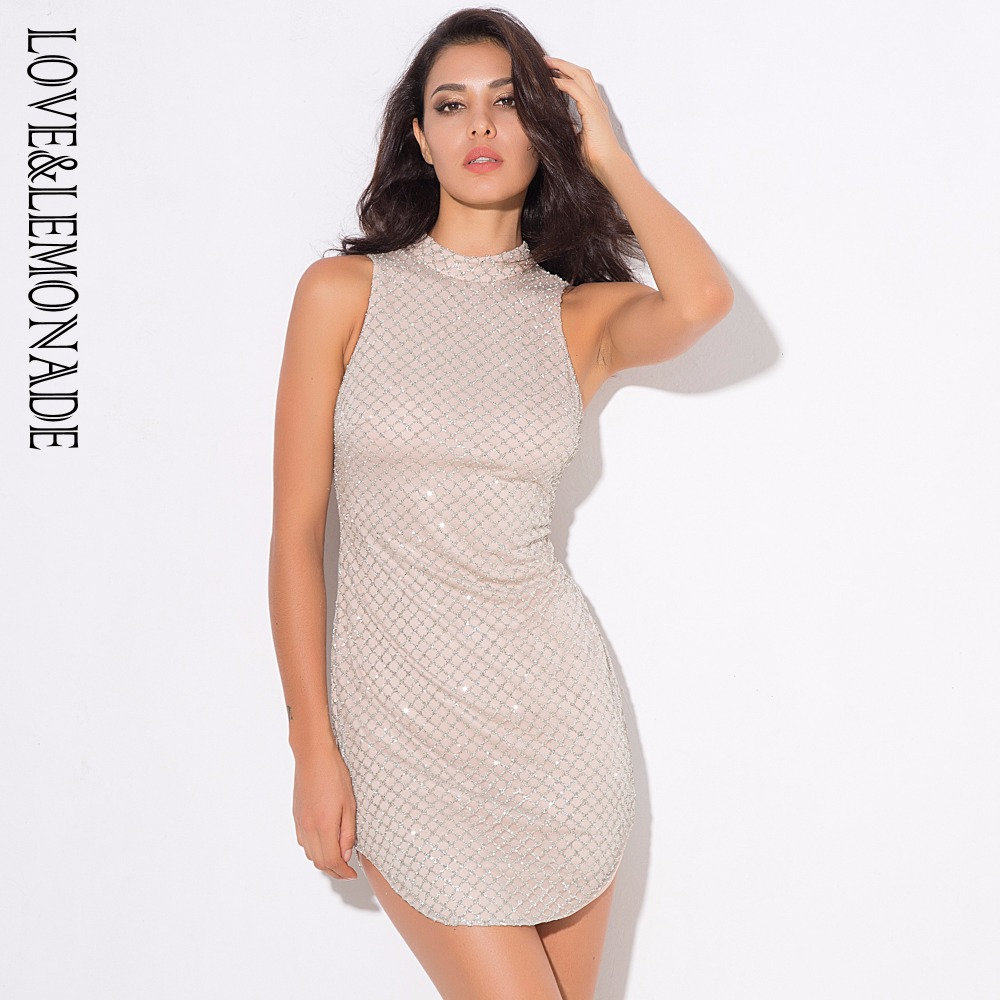 92d3d4031f US $20.45 34% OFF Love&Lemonade . silver Lattice Bead High Collar Dress  LM0368-in Dresses from Women's Clothing on Aliexpress.com   Alibaba Group