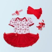 4 Stücke pro Set Short Sleeves Baby Mädchen Weihnachten Schneeflocke Tutu kleid Infant erste. Xmas Party Outfit Beinlinge Schuhe stirnband