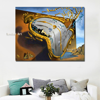 Salvador Dali painting handmade Modern Abstract Artwork Clock By Salvador Dali Canvas Art Painting Wall Picture For Living Room