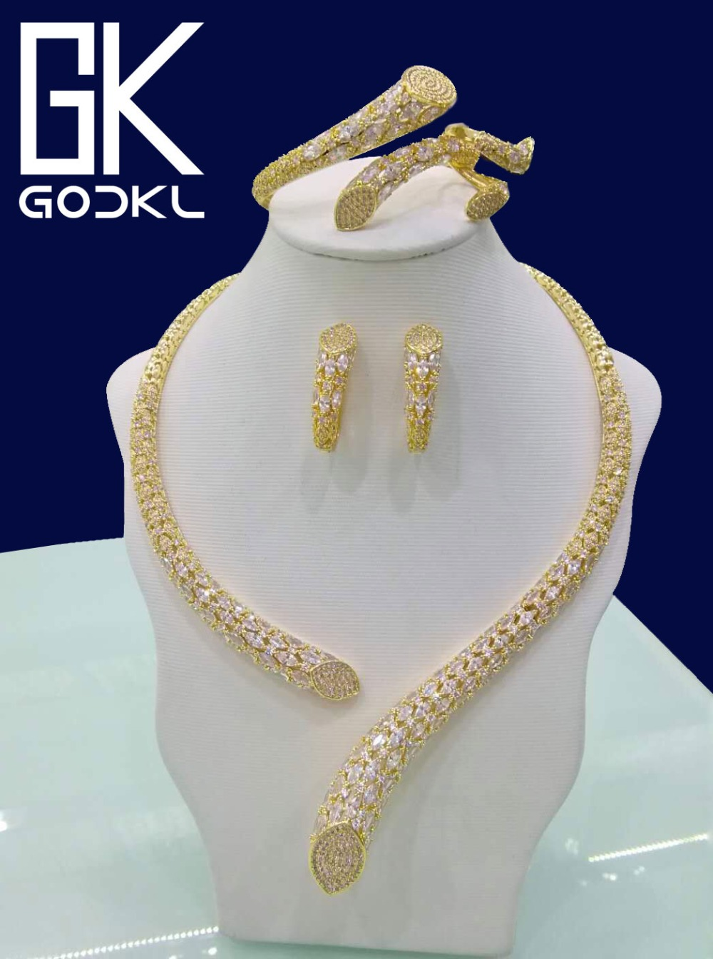 GODKI Luxury Geometry Cubic Zirconia Nigerian Jewelry sets For Women wedding Indian DUBAI Bridal Jewelry Set parure bijoux femme