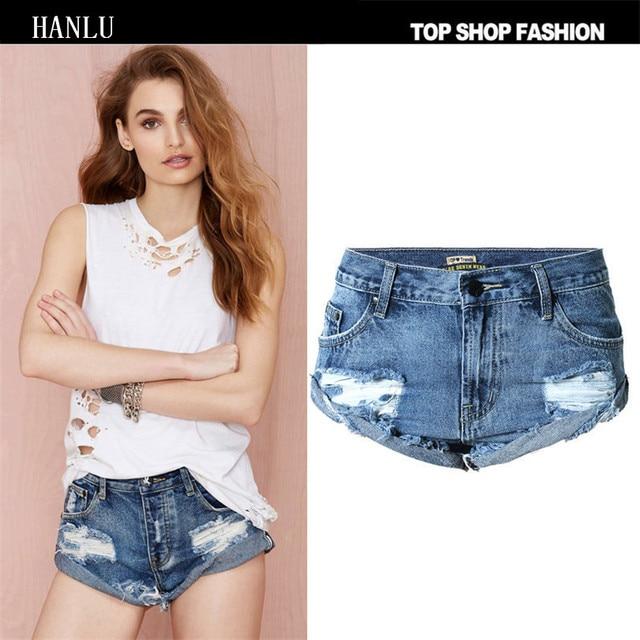 Nueva moda novio Vaqueros para las mujeres Burr Loose Mediados de cintura  playa Mujer Pantalones cortos 7bf238c09344