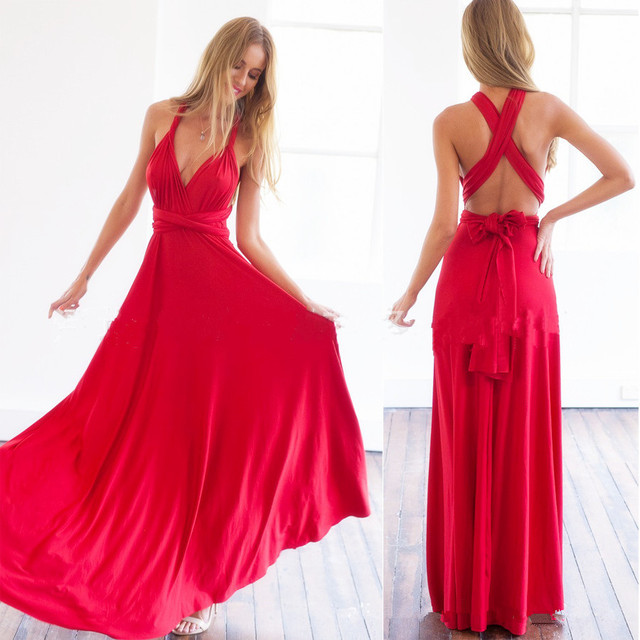 Sexy Red Multi way dressing infinity dresses women dress magic Variety One  for all big swing Evening party Maxi halter dresses e830dd4e5dd2