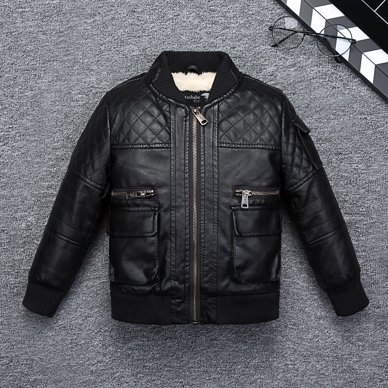 Stand Collar Fleece Thick Boys Leather Jacket Fall Winter Girls Motor Coat Bomber baby Toddler Clothes Windbreaker striped trim fluffy panel bomber jacket