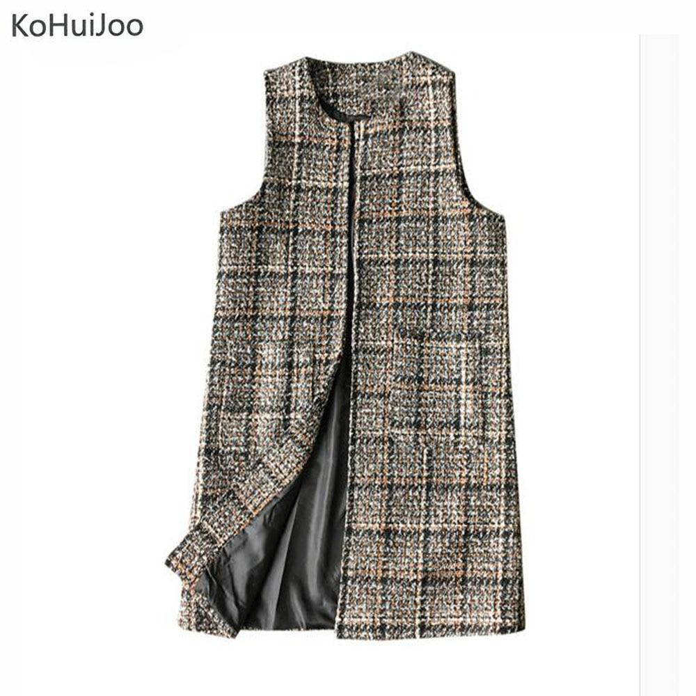 KoHuiJoo XL-3XL Plus Size Autumn Winter Women Long Wool Vest Loose O Neck Brown Tweed Vest Vintage Waistcoat Cardigan Sleeveless