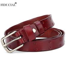 FIDUCIAL Lady's Fashion Trend Retro Real Genuine Leather Belts Alloy Buckle Metal Belt for Women Many Colour Options FFCO021