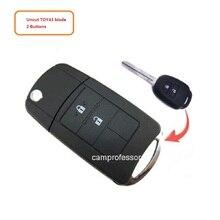 Neue Uncut Flip Remote Key Fob Shell Fall 2 Taste für Toyota RAV4 Corolla Avalon Camry Venza + TOY43 Klinge