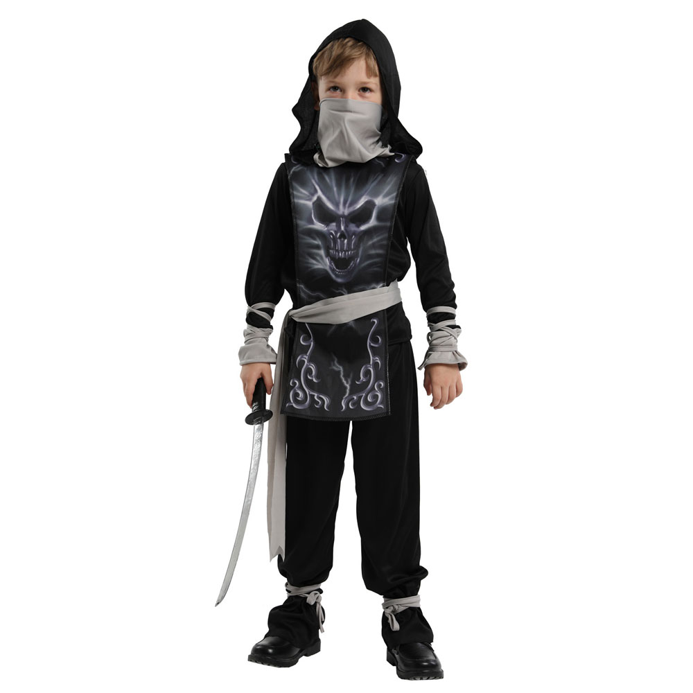 Kids Child Dark Zombie Ninja Costume Cosplay For Boys Halloween Purim Carnival Party Mardi Gras Samurai Book Day Fancy Dress