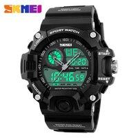 2017 Hombres Deportes Relojes 2 Zona Horaria de Cuarzo Digital Reloj de Buceo 50 M Impermeable LED Electrónico Multifuncional Reloj Militar