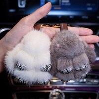 Cute Cartoon Rabbit Fur Diamond Crystal Keychain Handbag Pom Pom Car Keyring Women Diamante Mink fur Buckle Car Charm Pendant