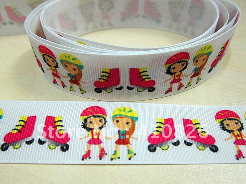 Q&N ribbon wholesale 125mm Girls skating print grosgrain ribbon 50yards roll free shipping