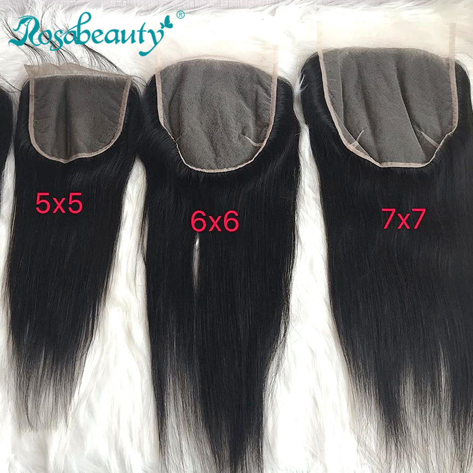 Rosabeauty 7x7 Straight Hair Lace Closure Brazilian Human Virgin Hair Closure With baby hair Middle Free